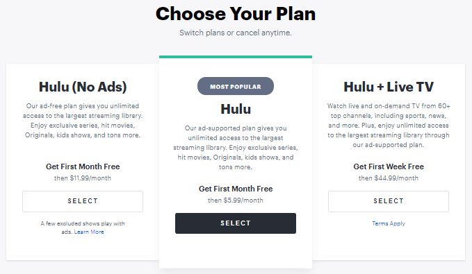 Hulu Premium Plan Options & Pricing